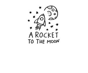 a rocket to the moon, band, and drawing image
