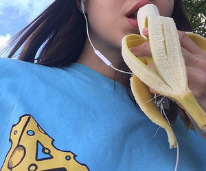 banana, girl, and blue image