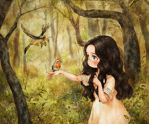 girl, art, and forest image
