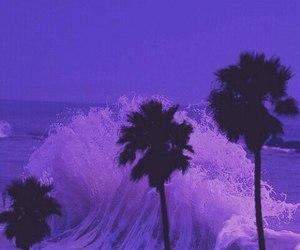 purple, beach, and waves image