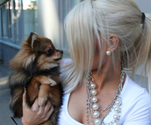 dog, girl, and blonde image