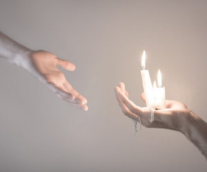 candle, hands, and art image