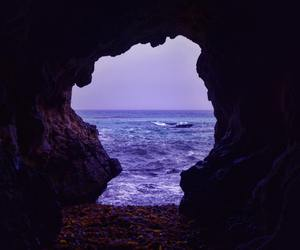 purple, sea, and cave image