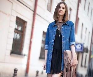denim jacket, fashion, and lace dress image