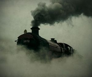 train, harry potter, and black and white image