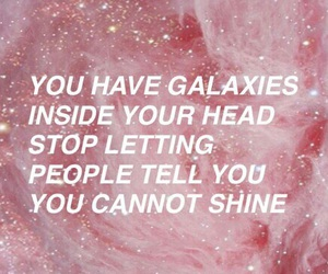 galaxy, quotes, and pink image