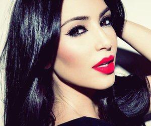 kim kardashian, pretty, and red lips image