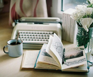 book, coffee, and typewriter image