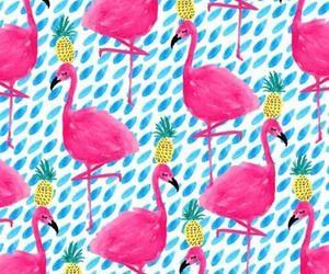 flamingo, pineapple, and wallpaper image