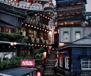light, japan, and city image