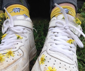 shoes, yellow, and flowers image