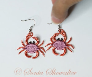 crab, pink, and embroidery lace image