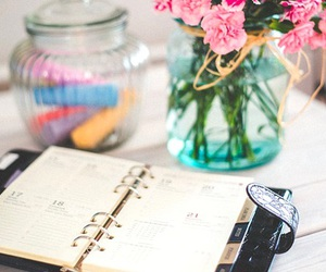 business, notes, and flowers image