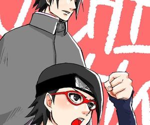 anime, sarada, and uchiha image