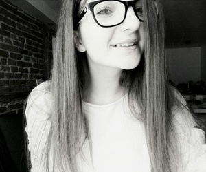 b&w, glasses, and hey image
