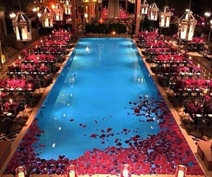 pool, roses, and wedding image