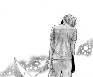 black and white, boy and girl, and manga cap image