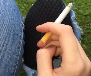 cigarette, girl, and grundge image
