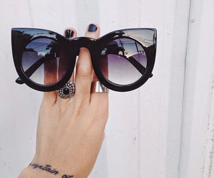 sunglasses, fashion, and black image