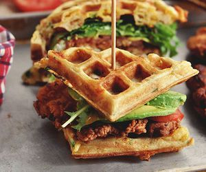 food, sandwich, and waffles image