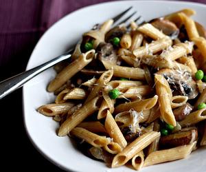 food, mushroom, and pasta image