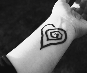 tattoo, black and white, and heart image