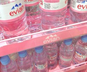 pink, water, and evian image