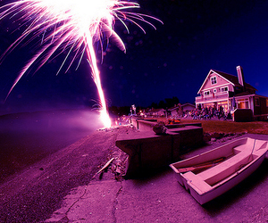 fireworks, house, and photography image
