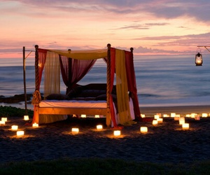 bed, romantic, and beach image