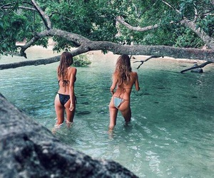 friends, summer, and bikini image