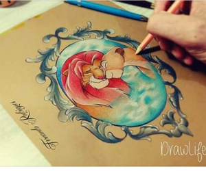 disney, draw, and simba image