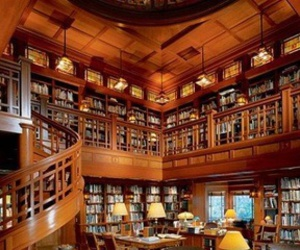 library, books, and house image