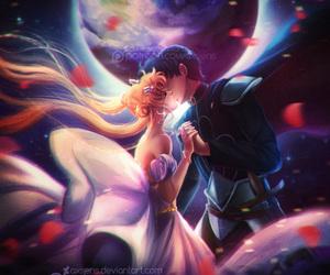 princess, prince endymion, and sailor moon image