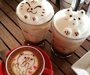 coffee, bear, and cat image