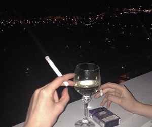 cigarette, smoke, and wine image