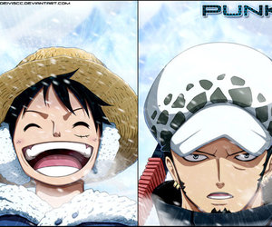 one piece, smoker, and monkey d. luffy image