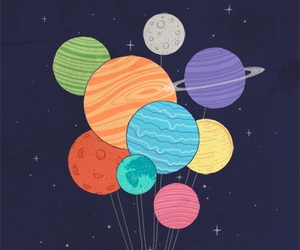 planet, space, and balloons image