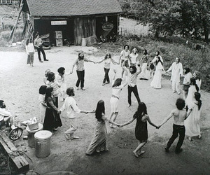 hippie, black and white, and dance image