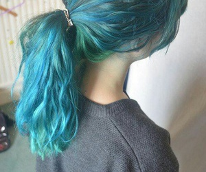 blue and green, hair color, and hair goals image