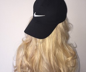 hair, blonde, and nike image