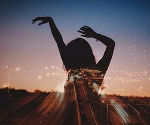 girl, night, and lights image