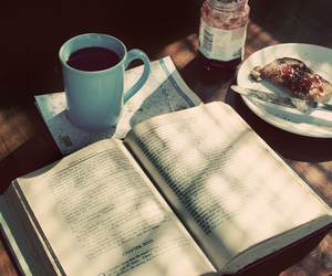 book, coffee, and bread image