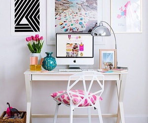 room, desk, and pink image