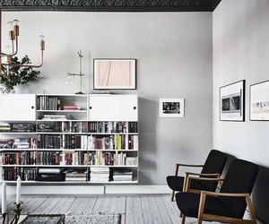 art, book shelf, and lamp image
