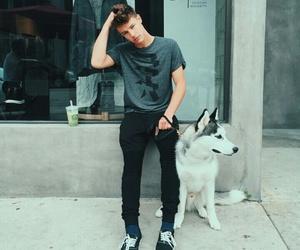 cameron dallas, boy, and dog image