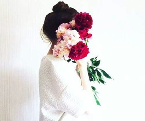flowers, girl, and hide image