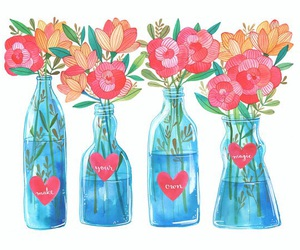 drawing, colors, and flowers image
