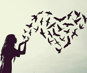 heart, birds, and girl image