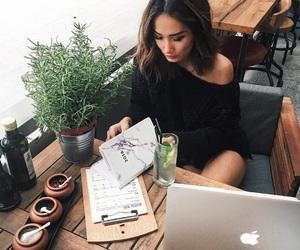 girl, apple, and work image