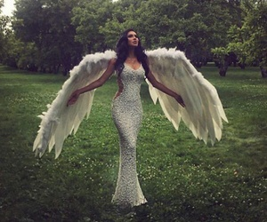 angel, dress, and wings image